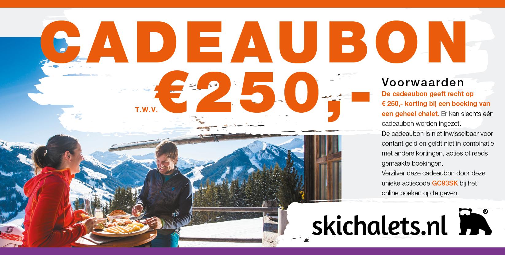 Cadeaubon t.w.v. 250 euro van skichalets